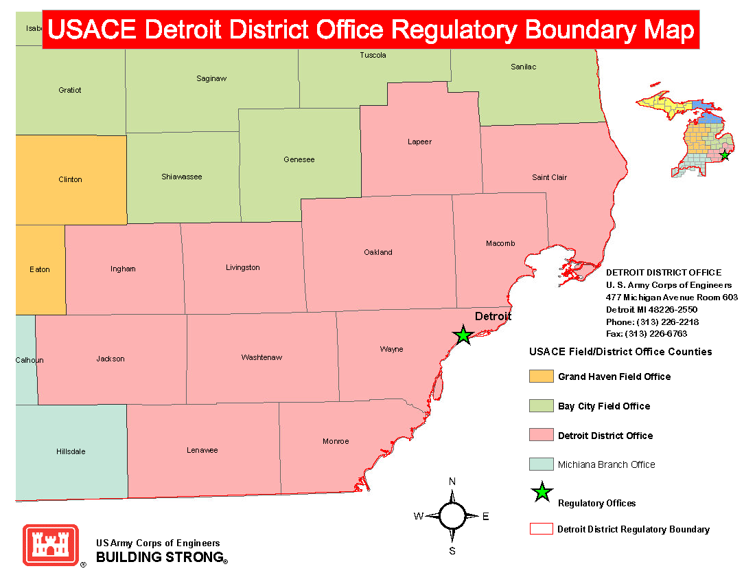 Detroit District Missions Regulatory Program And Permits - Us corps of engineers maps