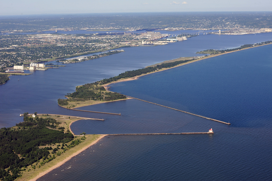Aerial view of Duluth-Superior Harbor