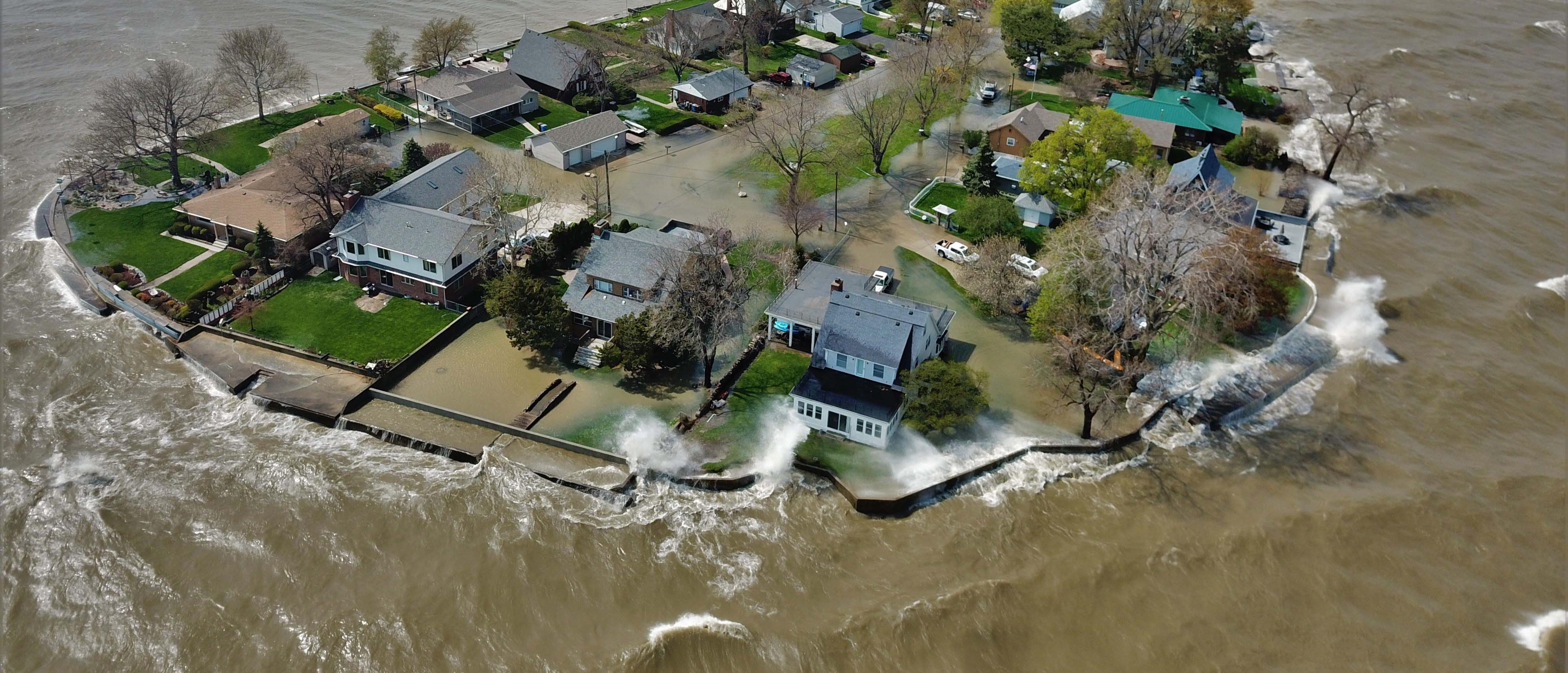 High water threatening suburban homes.